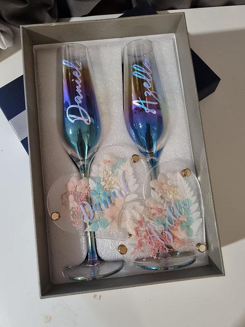 Iridescent Champagne Flutes + Coaster Bundle Gift Set