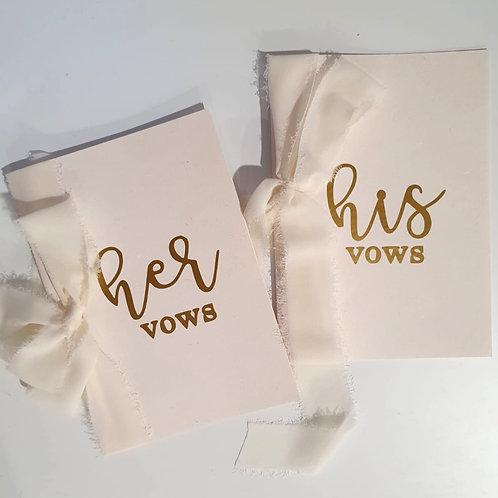 Wedding Vows Card - White (One Set)