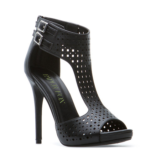 Perforated faux-leather sandal