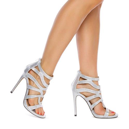 Metallic fabric sandal