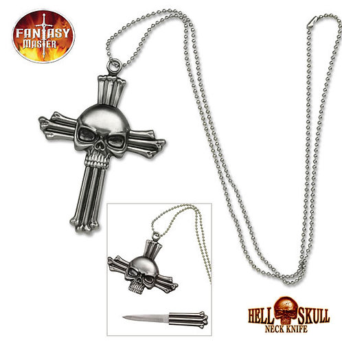 Skull Cross Necklace Knife