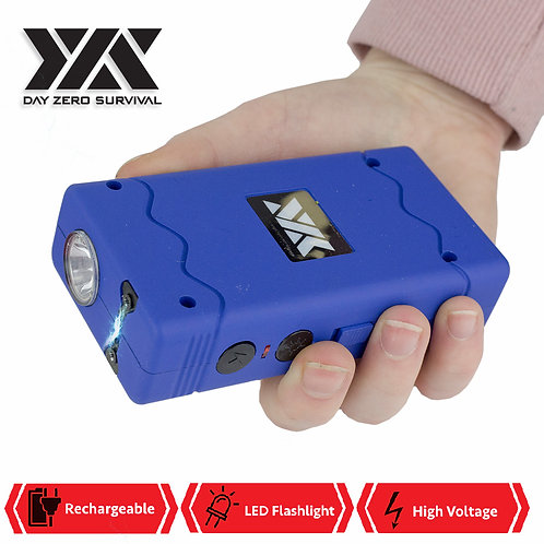 DZS Rechargeable Stun Gun with Safety Disable Pin LED Flashlight