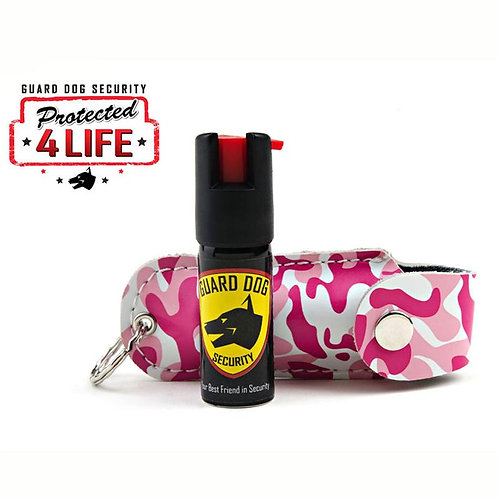 Pink Camo Pepper Spray Keychain Leather Case
