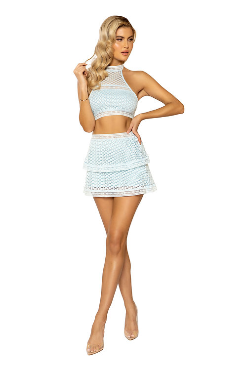 2PC High-Waisted Lace Skirt