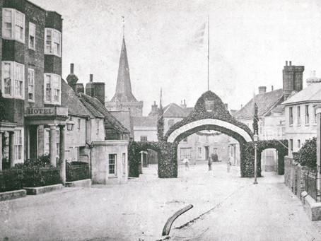 1864: Cuckfield High Street celebrations as Reverend Maberly  returns home after 15 month absence