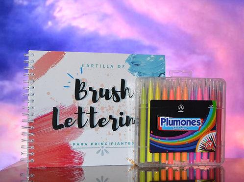 Kit lettering   Cartilla + 24 plumones