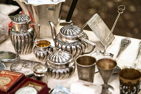 Antique silver teapots, creamer and othe