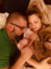 Homebirth with mom, dad and baby girl