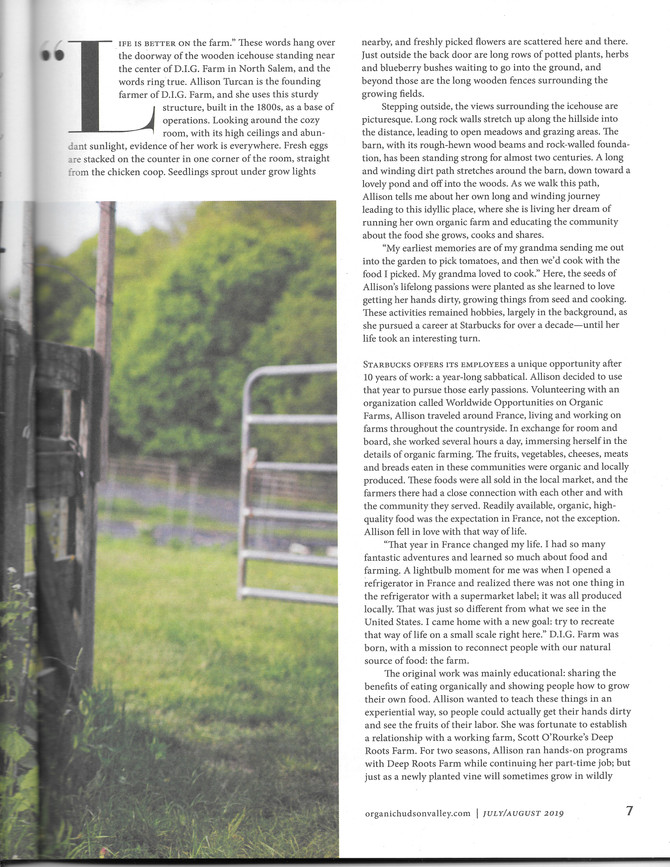 Interviewed for Organic Hudson Valley