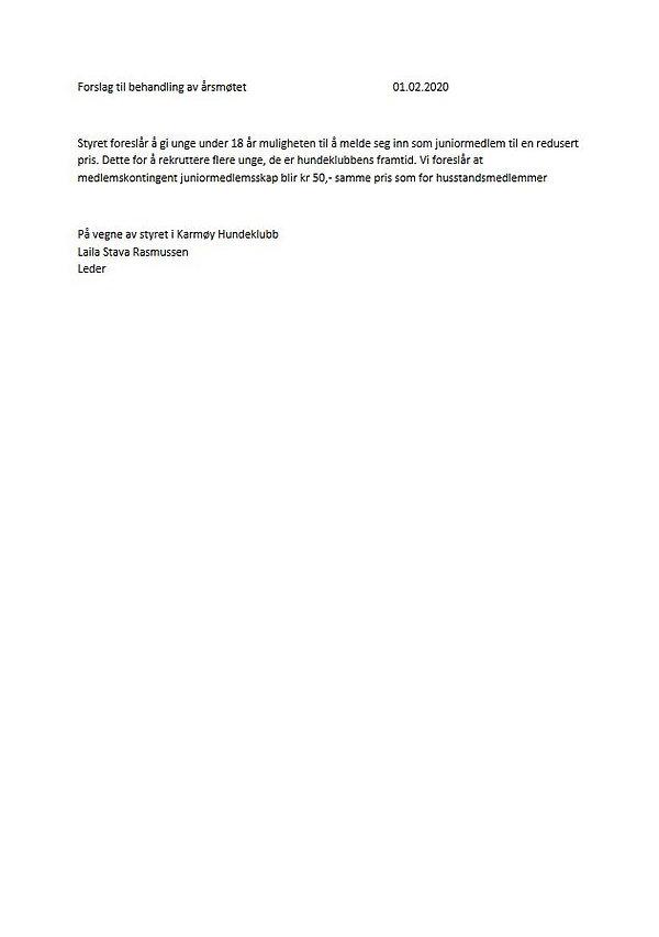 5 b. Forslag fra styret - Juniormedlemss