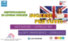 certificazioni di lingua inglese Advanced livello B2 e Accept proficiency livello C1