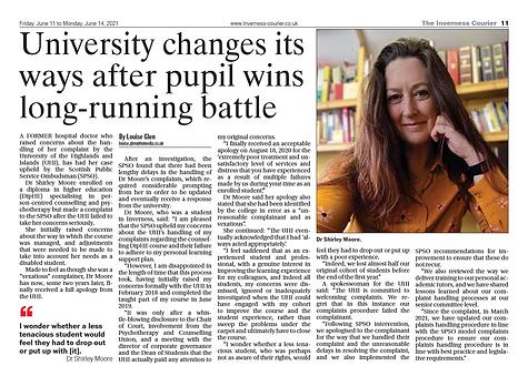 University changes its ways after pupil