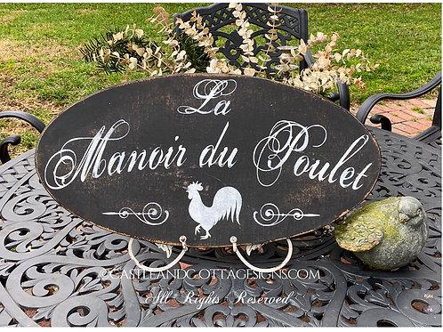 French Coop Sign Manoir du Poulet Black Background