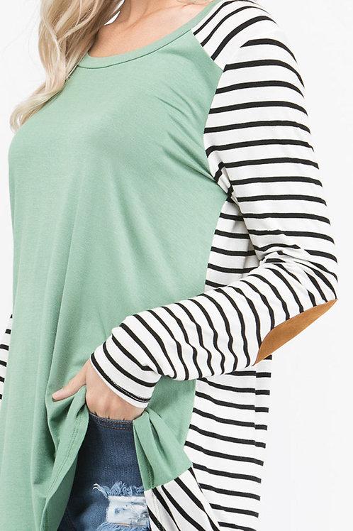 Sage Green-Stripe Jersey Knit Top