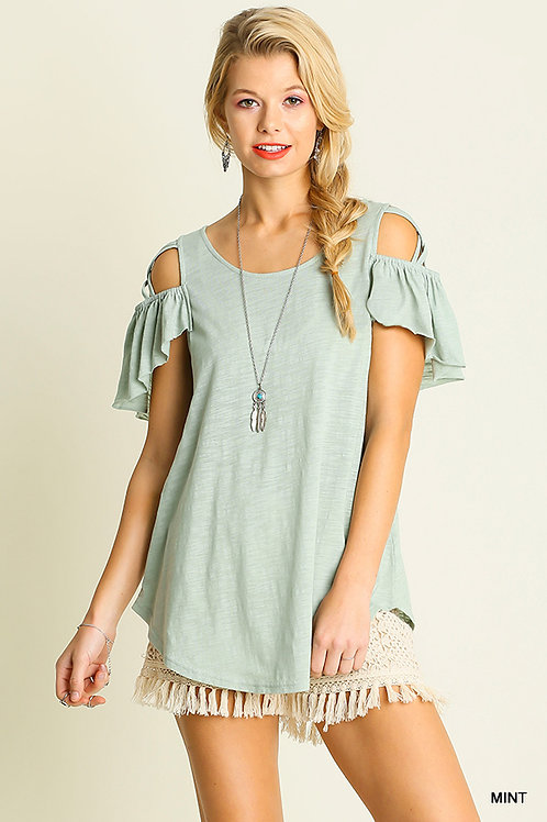 Umgee Mint Two Tone Jersey Tunic Top