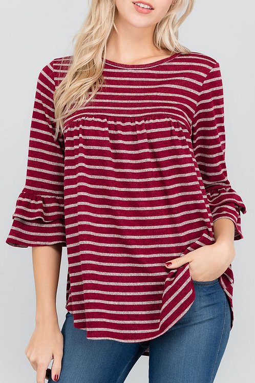 Red Striped Ruffle Sleeve Top