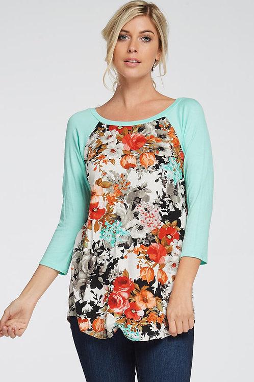 Jade/Floral Print Jersey Knit Top