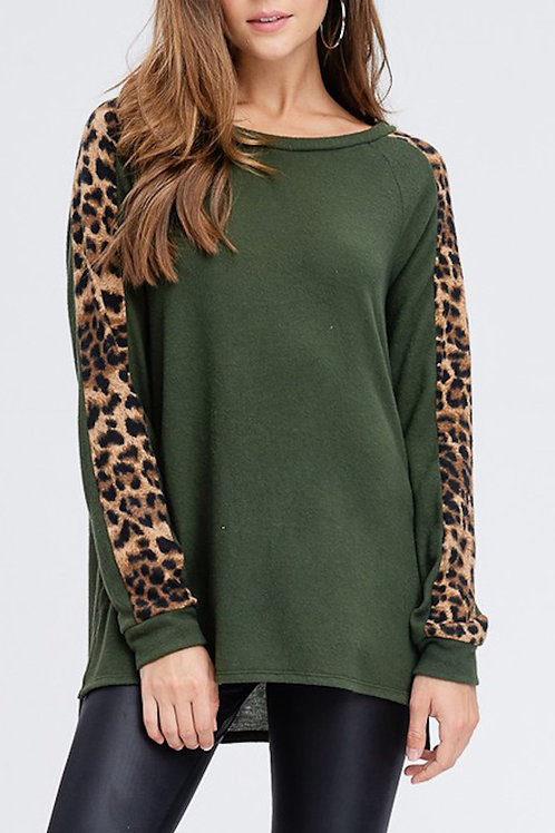 Olive Cheetah Print Sleeve Top