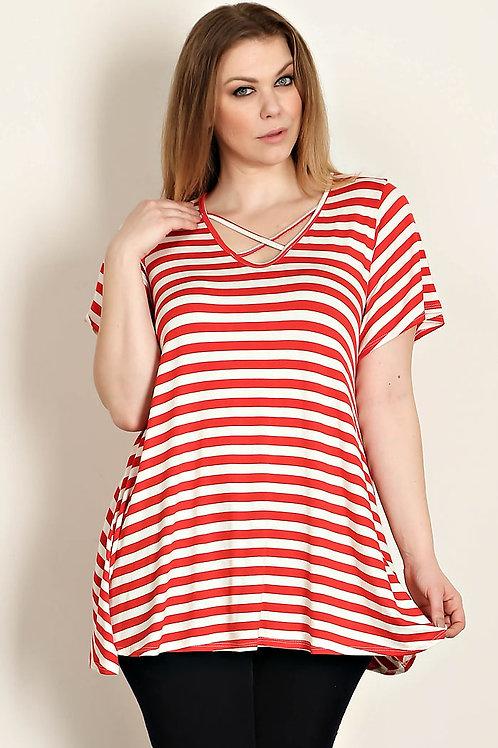 Plus Size Red Stripe Jersey Knit Top