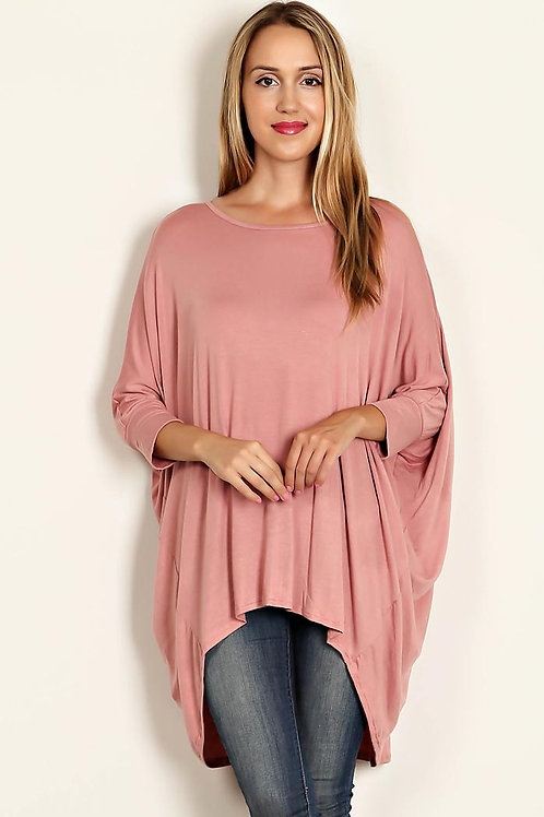 Rose Solid Dolman sleeve, High Lo Tunic