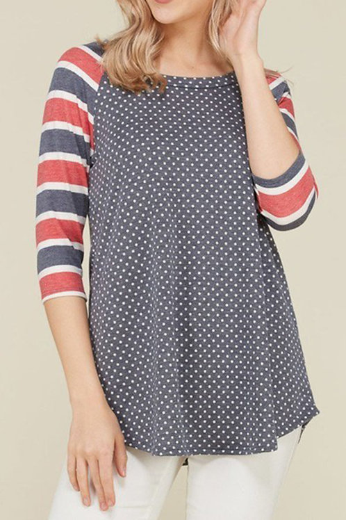 Plus Size Navy Color Block Tunic