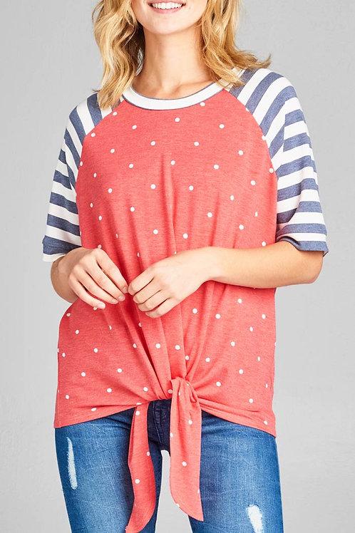 Red-Striped Polka Dot Top