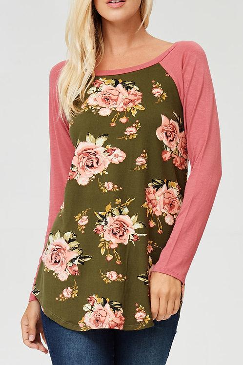 Olive Floral Print Raglan Jersey Top