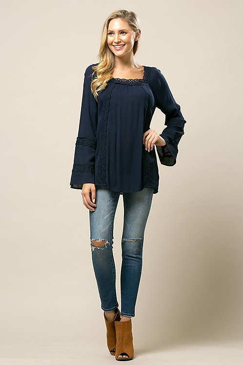 Navy Blue Square Neck Top
