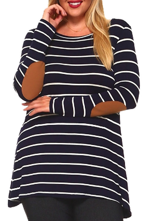 Plus Size Navy Striped Elbow Patch Top