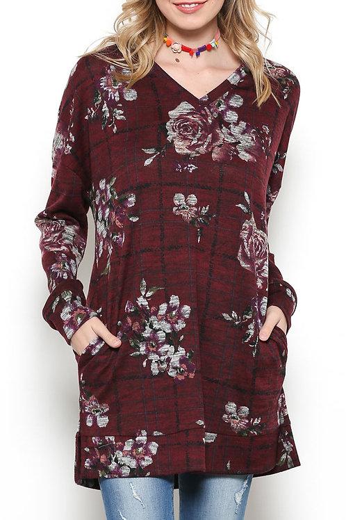 Burgundy Floral Print Tunic