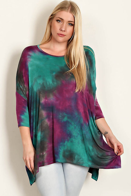 Purple Tie Dye Jersey Tunic-Plus Size
