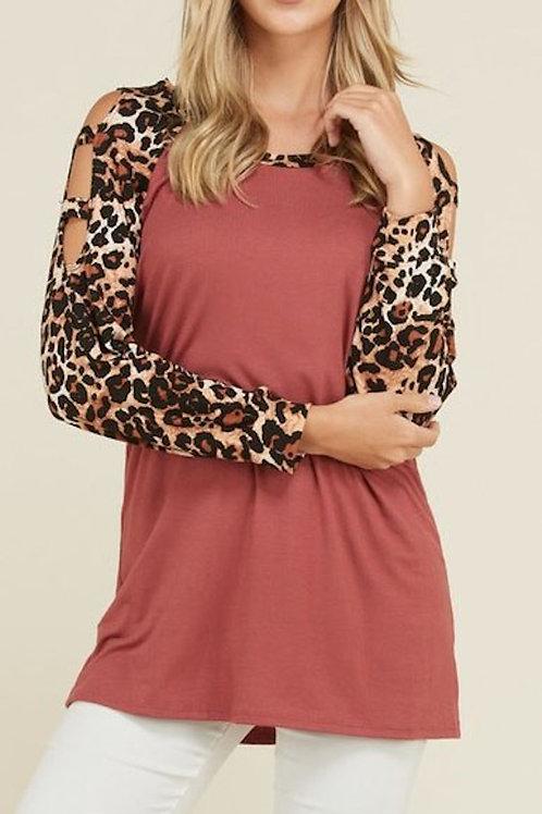 Brick-Leopard Print Tunic
