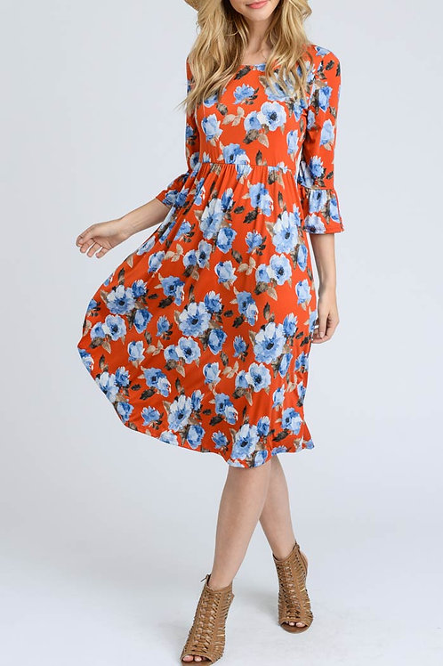 Orange Ruffle Sleeve, Floral Print Dress