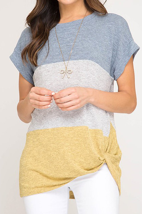 Blue/Mustard Color Block Top
