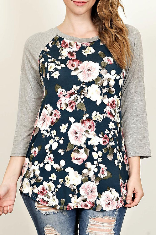 Plus Size Grey/Jade Floral Print Top