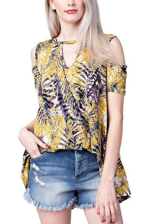 Mustard Cold Shoulder Tropical Print Top
