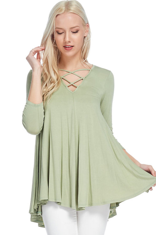 Sage Solid Knit Top