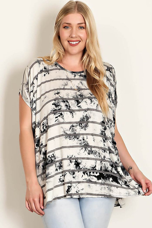 Plus Size Grey Tie Dye Print/Stripe Jersey Knit Tunic