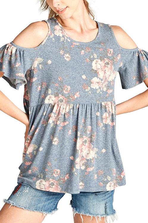 Denim Cold Shoulder & Floral Print Top