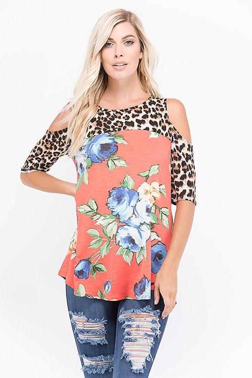 Coral Leopard & Floral Print Cold Shoulder Top