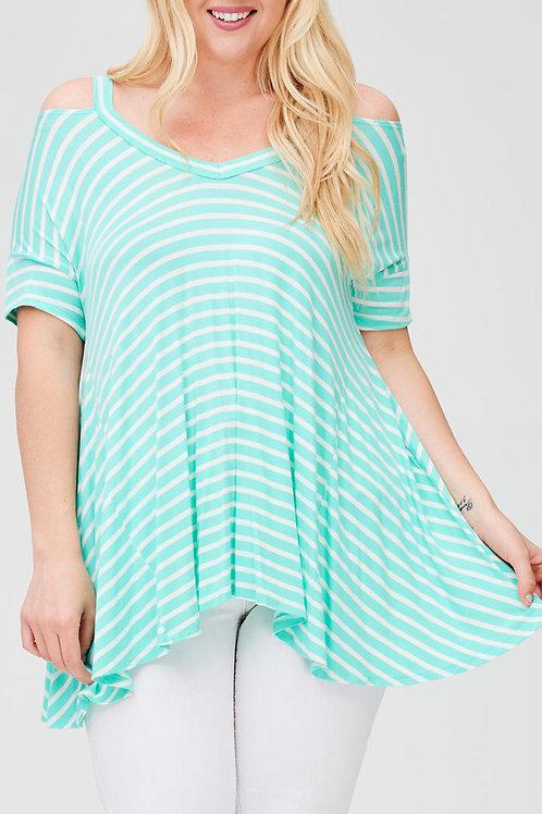 Plus Size-Mint Stripe Jersey Knit Top