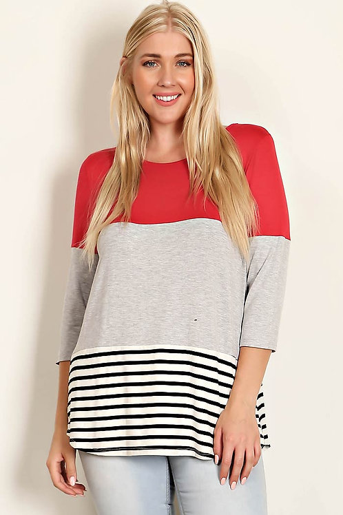Color Block & Stripe Plus Size Tunic