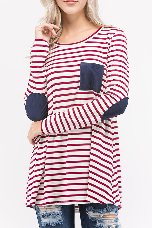 Red Striped -Elbow Patch Top