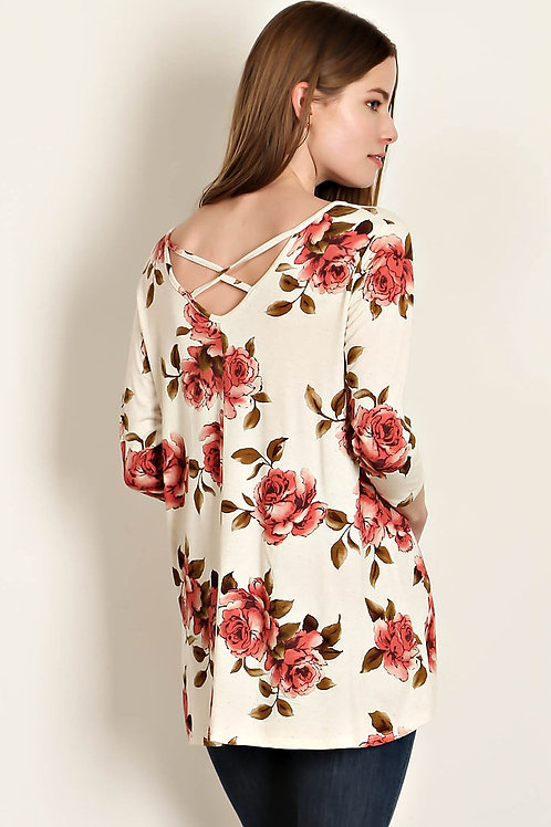 Cream Floral Print 3/4 Sleeve Top