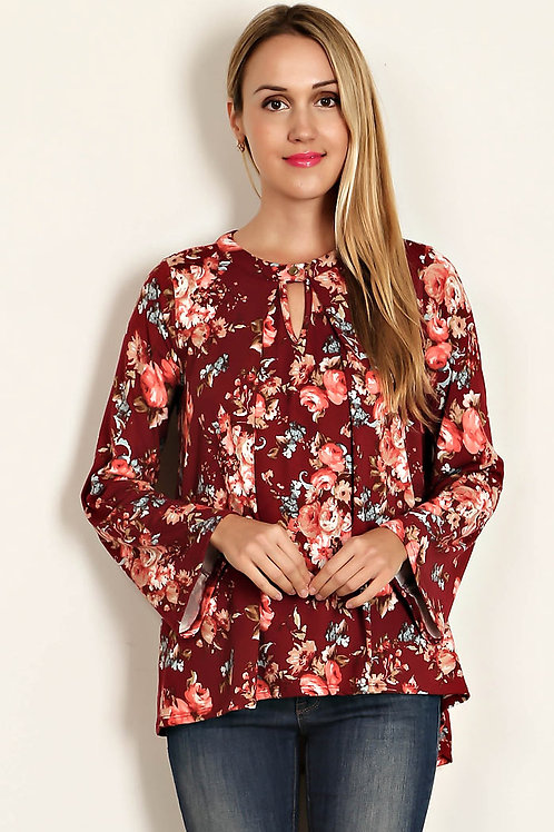 Floral Print Boxy Knit Top