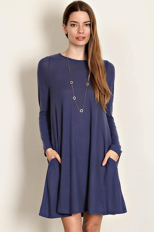 Denim Colored Knit Boat Neck Dress