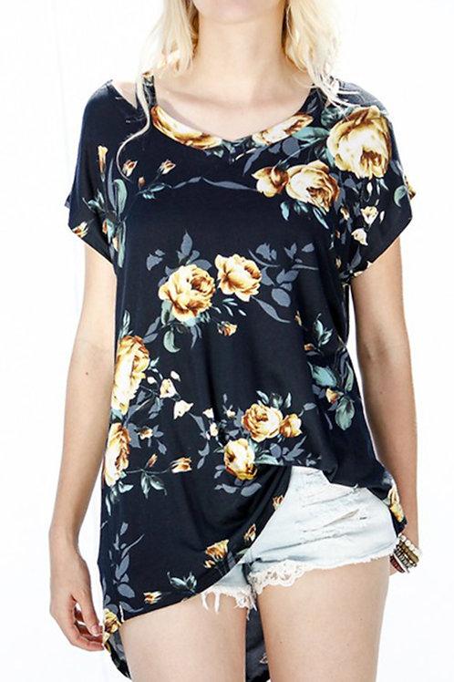 Black-Floral Print Top