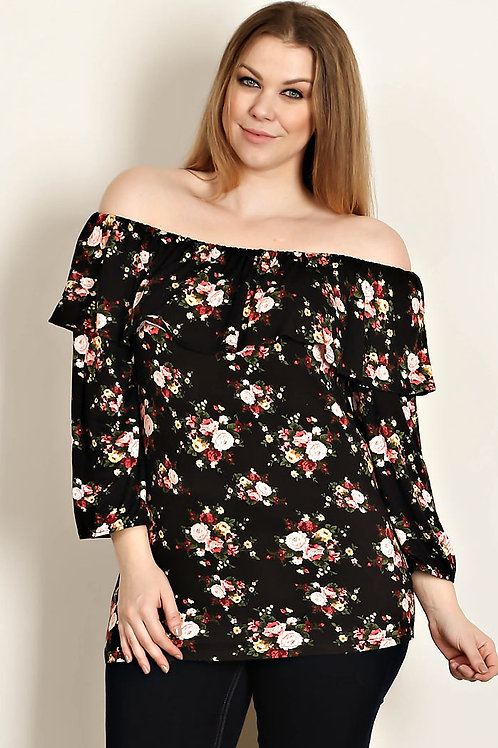 Plus Size Black Floral Print-Off Shoulder Top