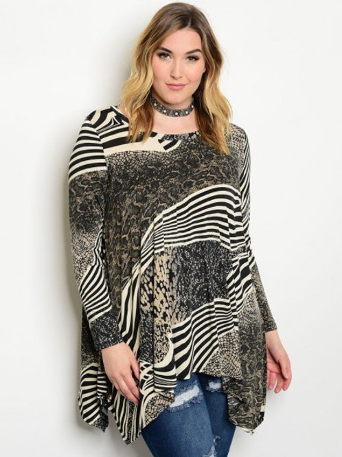 Black/Taupe Plus Size Top