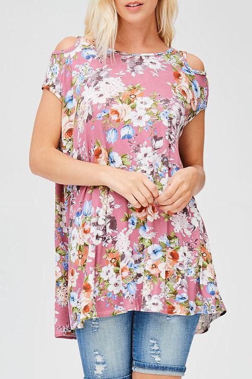 Mauve Cold Shoulder-Floral Print Tunic